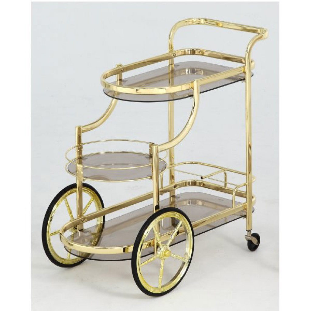 10941-3627- B Luxury Metal Steel Tea Trolley