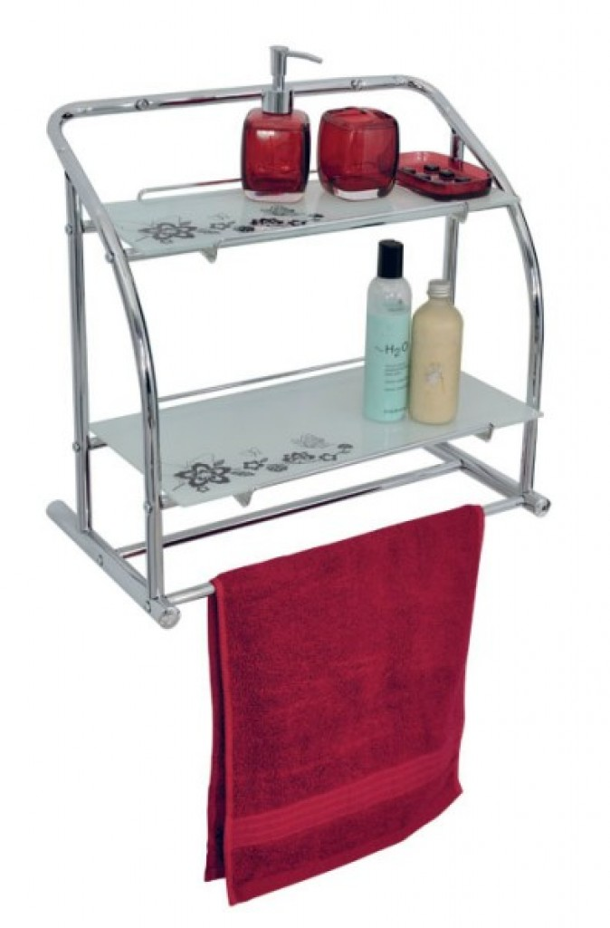 11610-135 Wall rack with 2-tier glass shelf