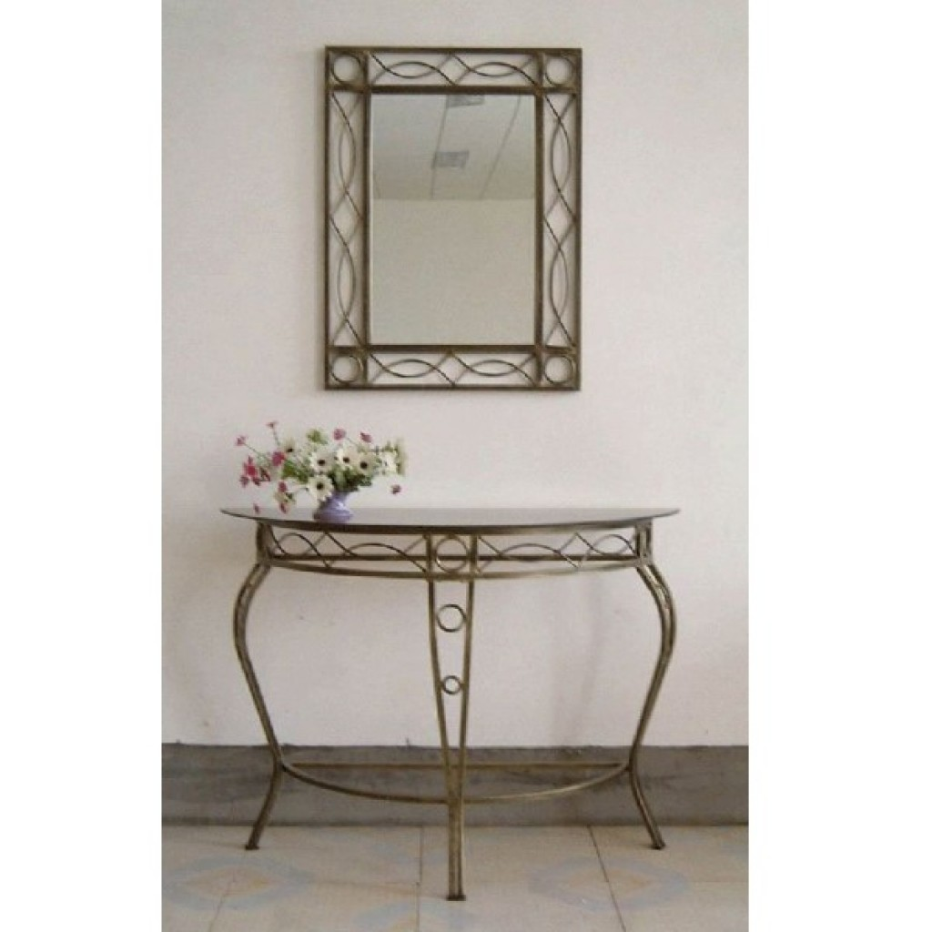 30246-0013 Metal Console Table & Mirror