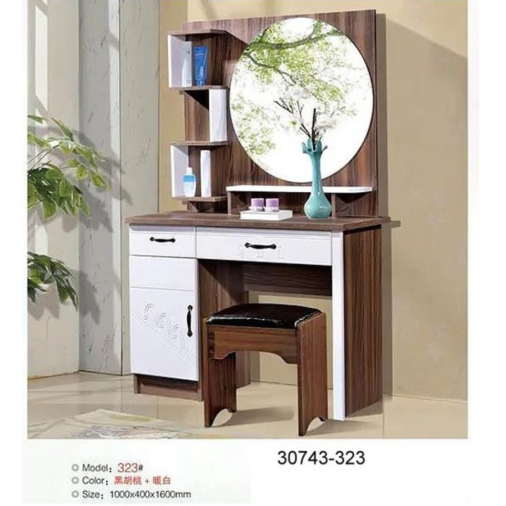 30743-323 Wooden Simple Dresser & stool