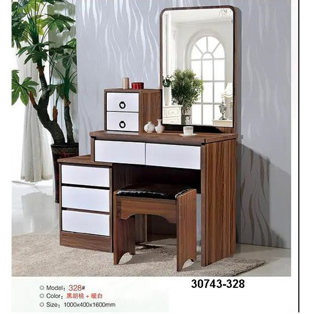 30743-328 Wooden Simple Dresser & stool