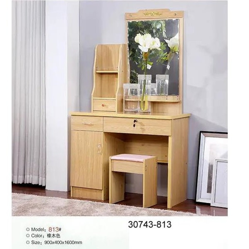 30743-813 Wooden Simple Dresser & stool