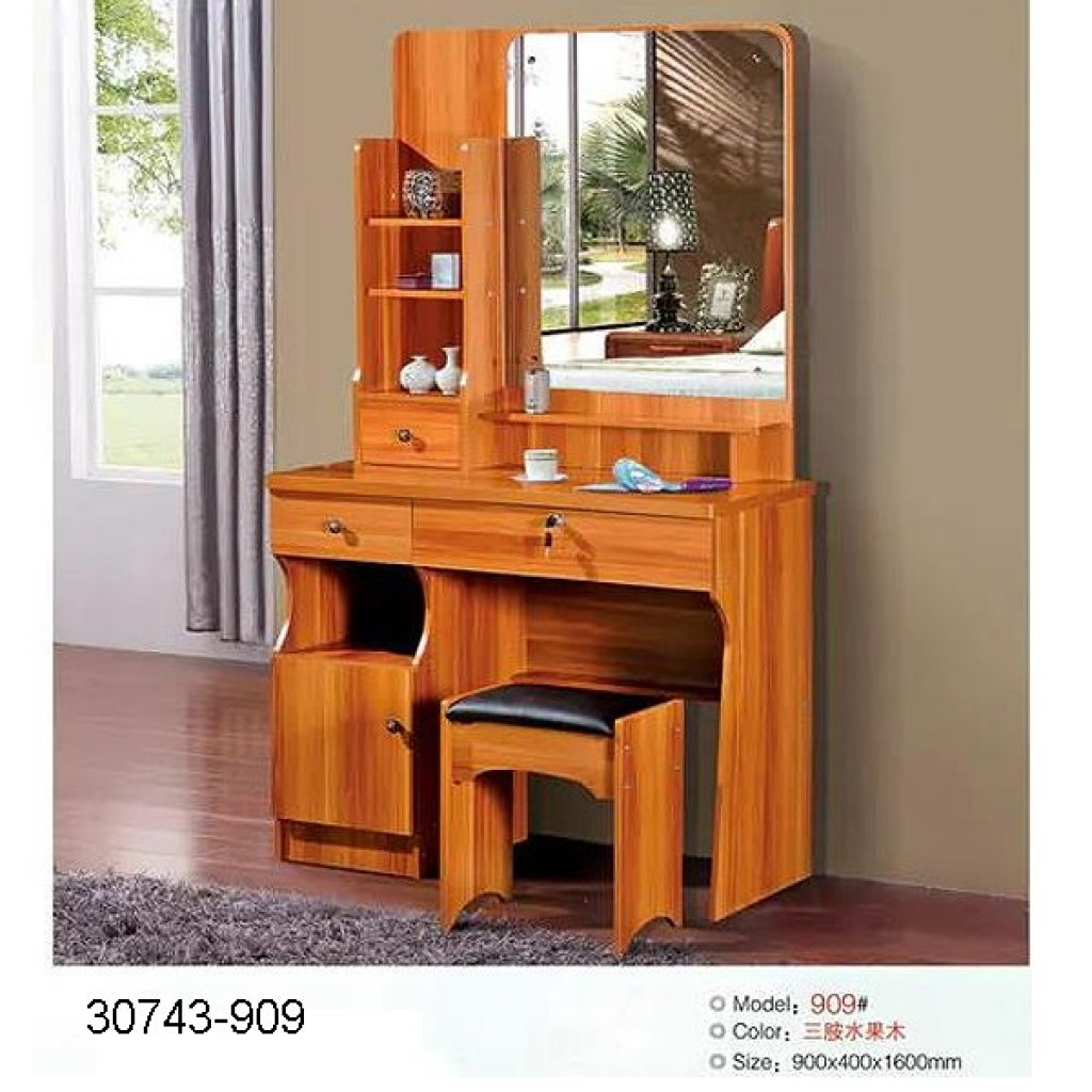 30743-909 Wooden Simple Dresser & stool