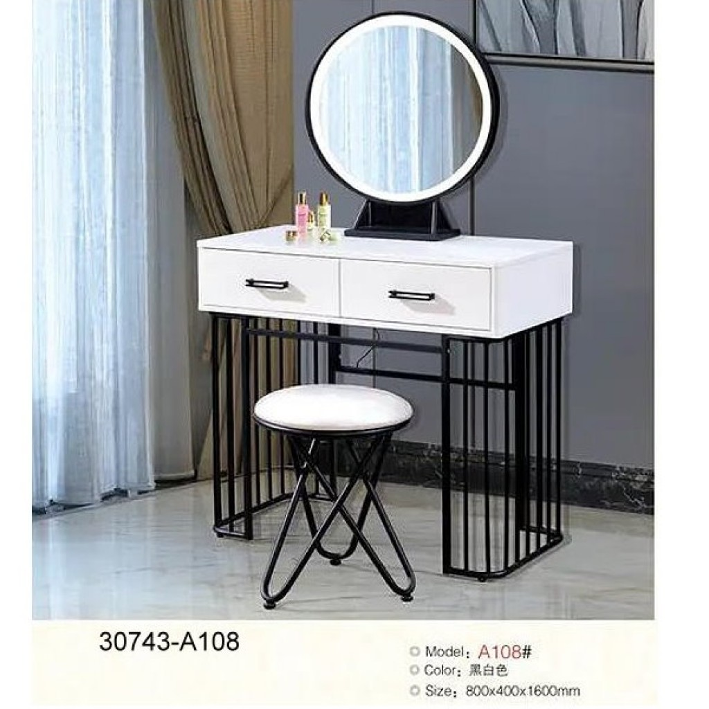 30743-A108 Metal/ Wooden Simple Dresser & stool