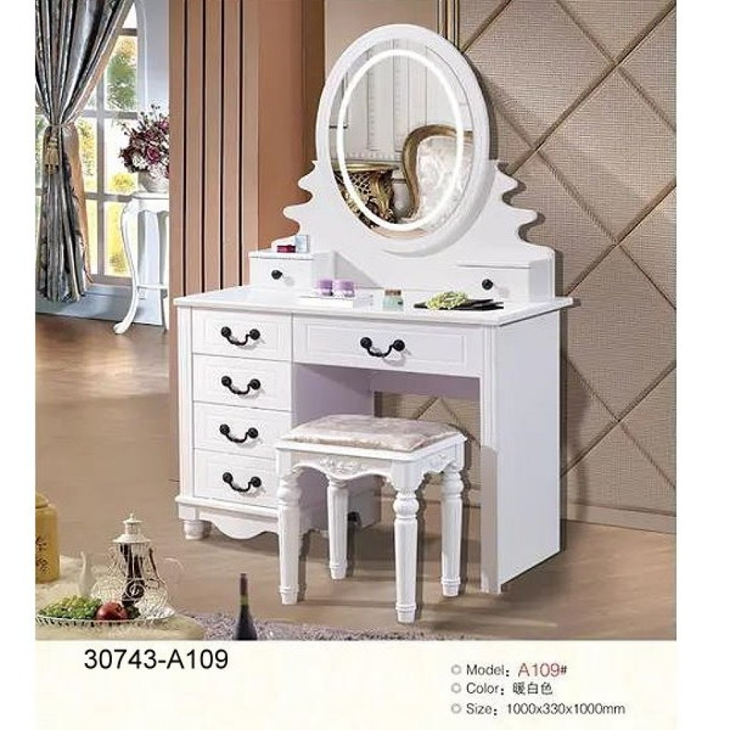30743-A109 Wooden Simple Dresser & stool