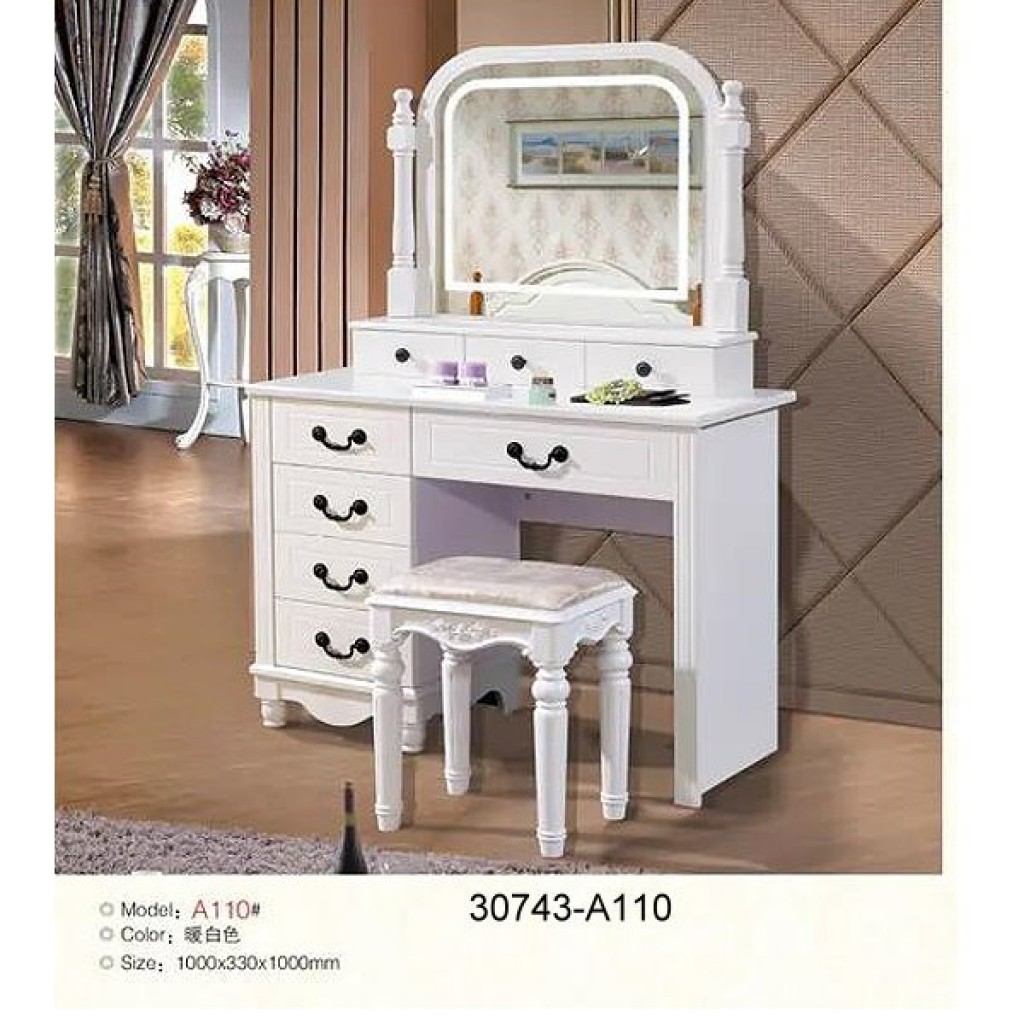 30743-A110 Wooden Simple Dresser & stool