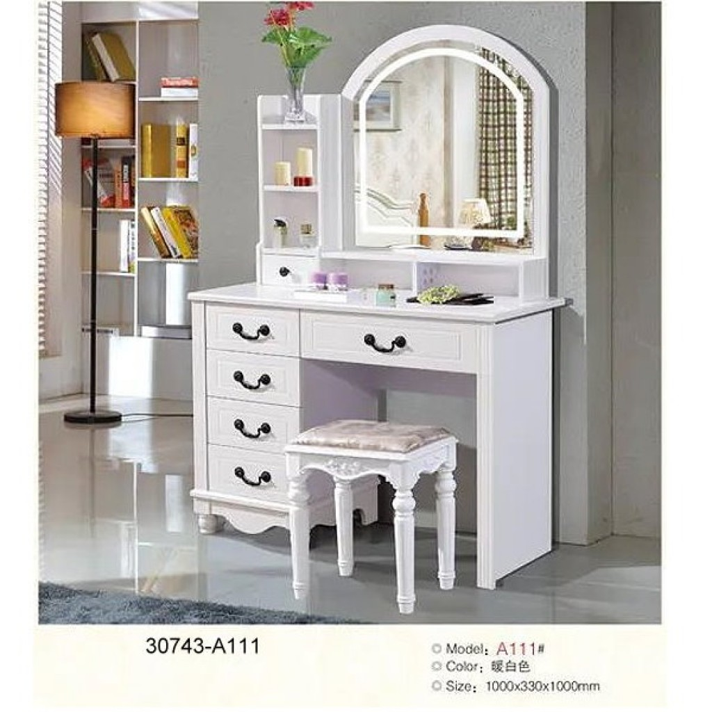 30743-A111 Wooden Simple Dresser & stool