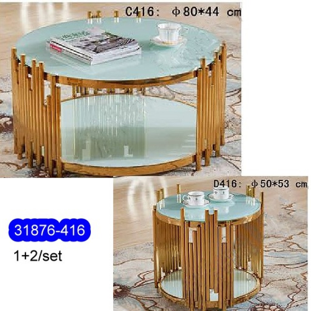 31876-416 1+2/set Stainless Steel  Coffee  Table