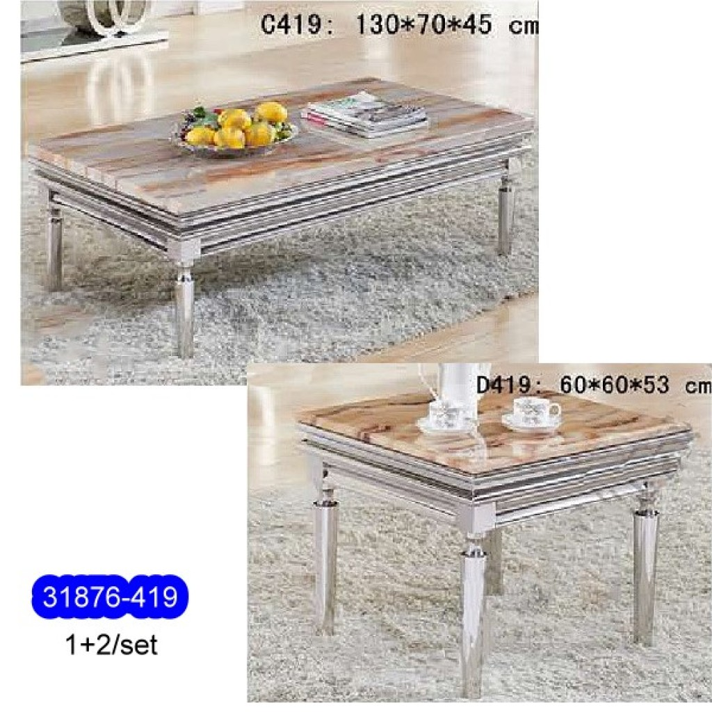 31876-419 1+2/set Stainless Steel  Coffee  Table