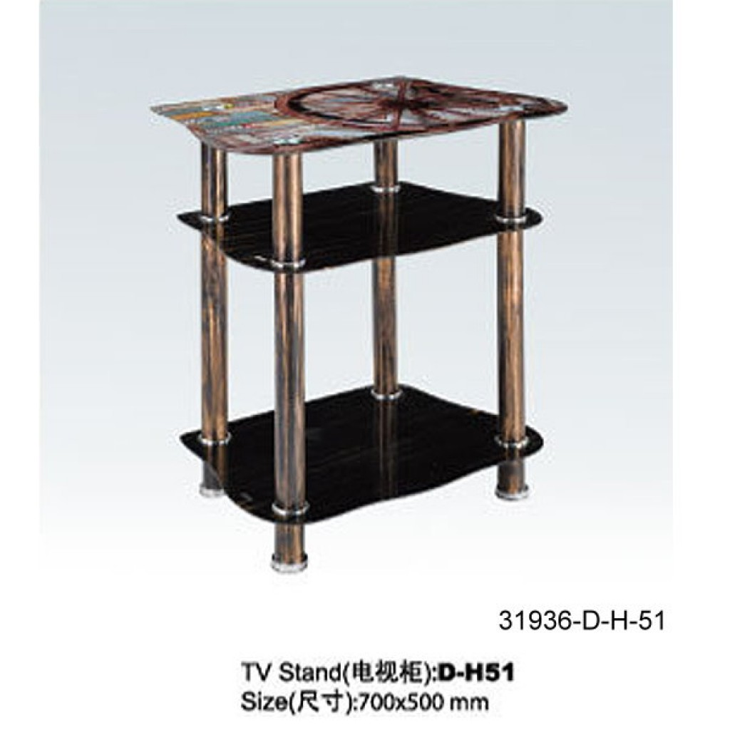 31936-D-H51 3 Tier Glass TV Stand