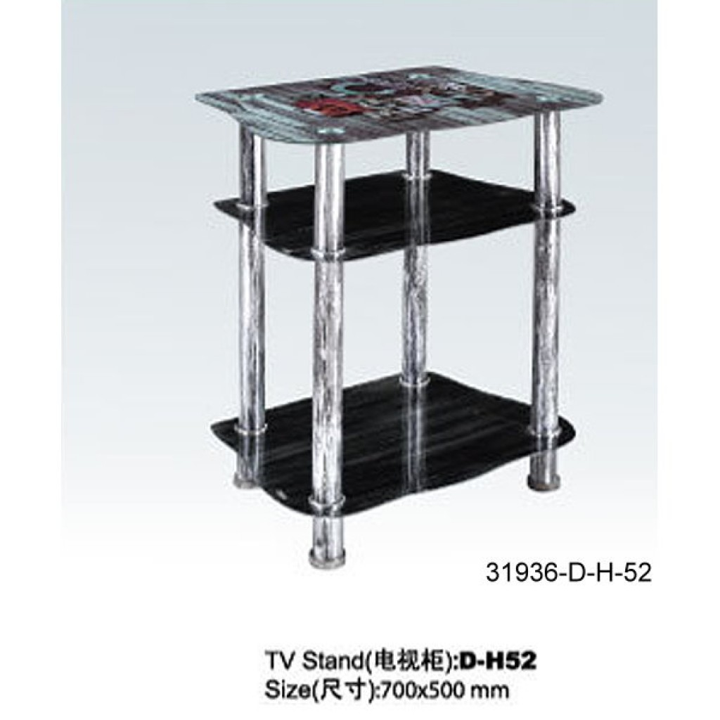 31936-D-H52 3 Tier Glass TV Stand