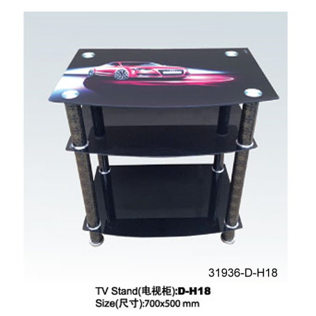 31936-D-H18 3 Tier Glass TV Stand