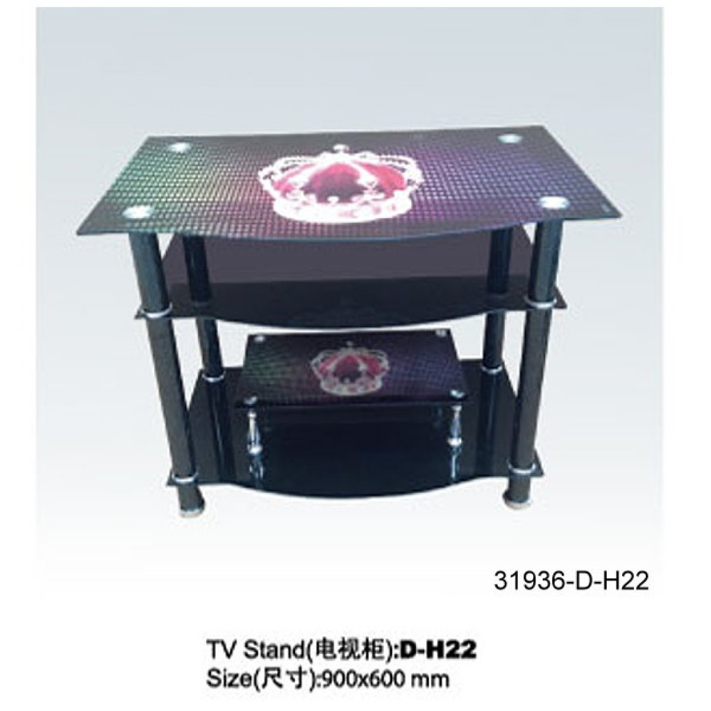 31936-D-H22 3 Tier Glass TV Stand