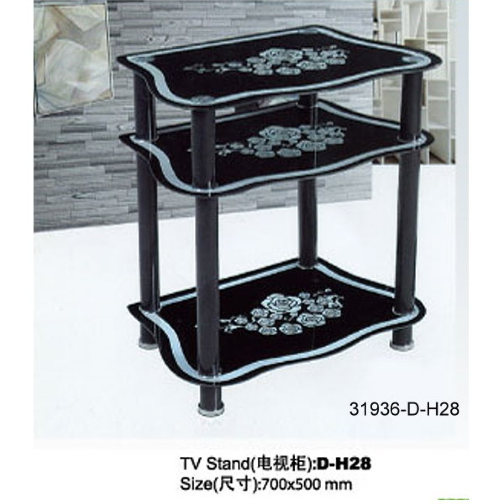 31936-D-H28 3 Tier Glass TV Stand