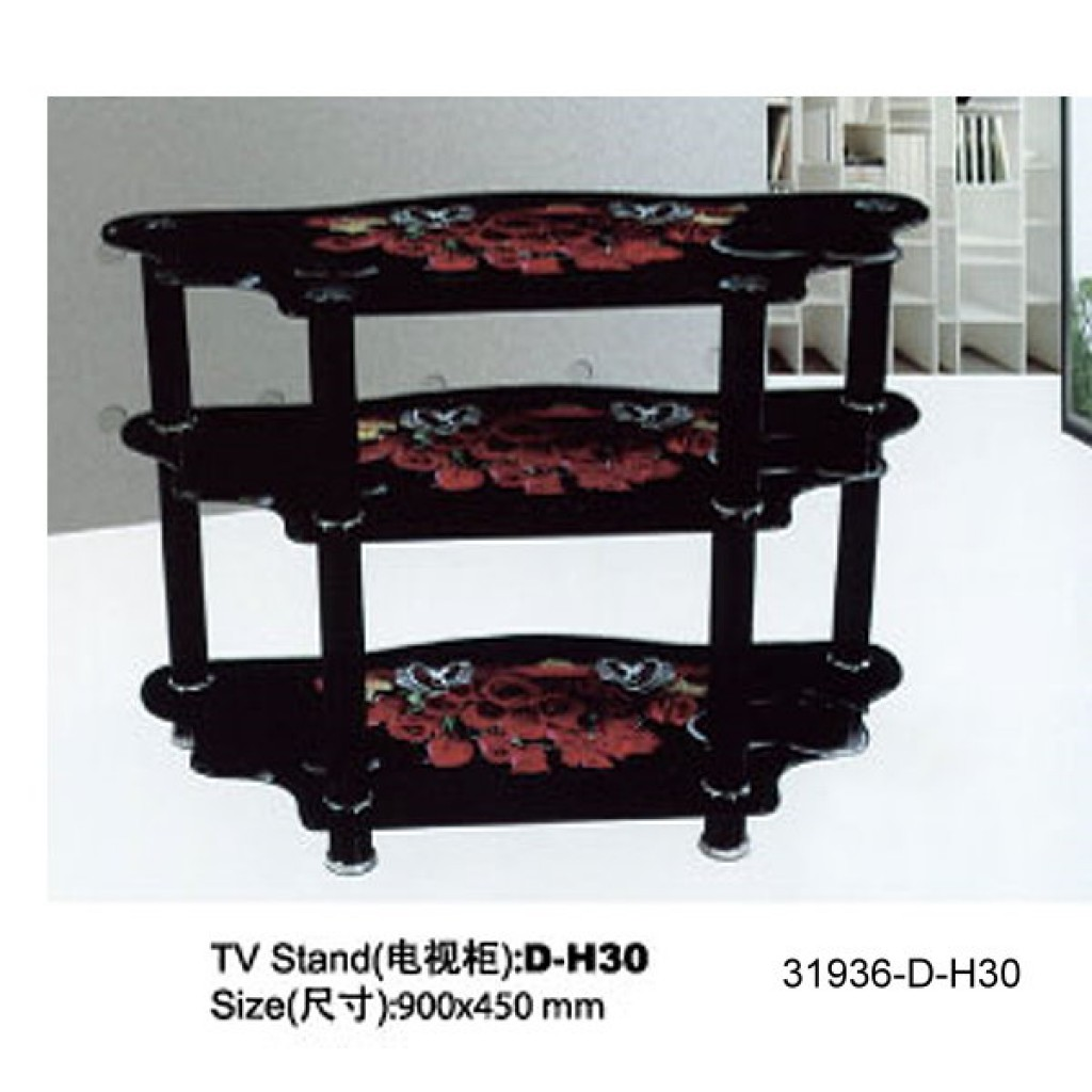 31936-D-H30 3 Tier Glass TV Stand