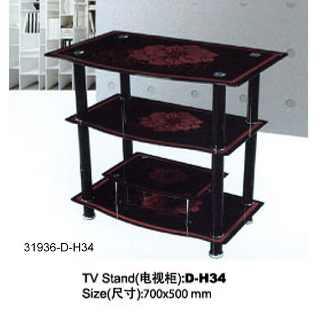 31936-D-H34 3 Tier Glass TV Stand