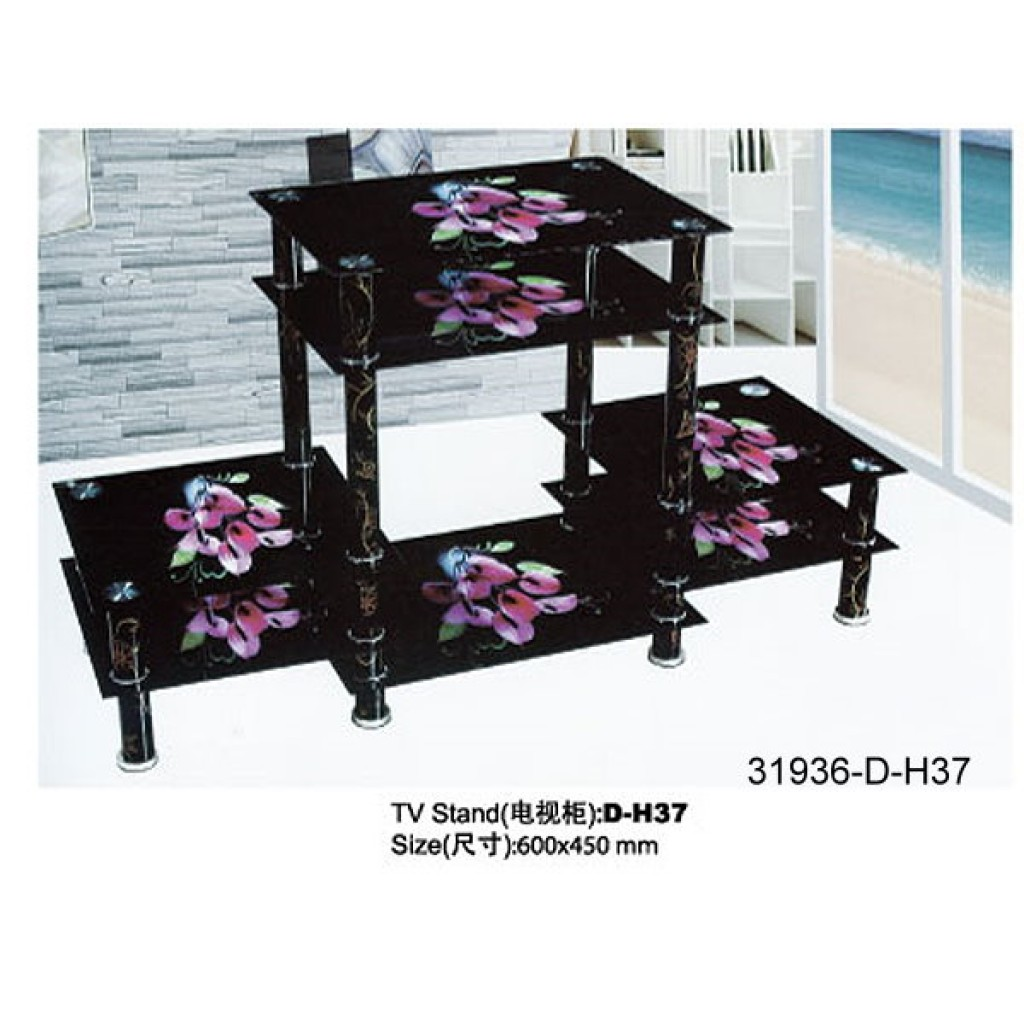 31936-D-H37 3 Tier Glass TV Stand