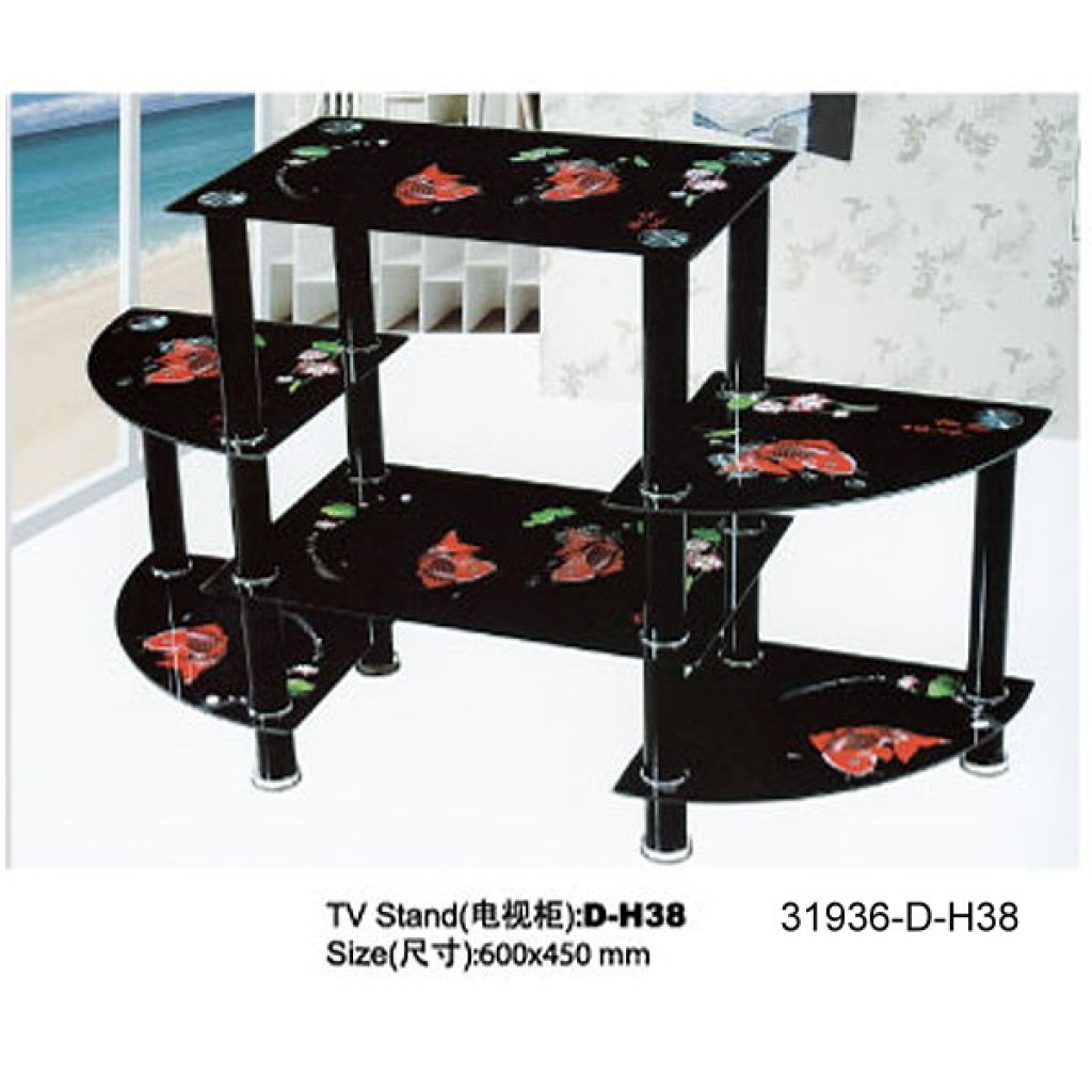 31936-D-H38 3 Tier Glass TV Stand