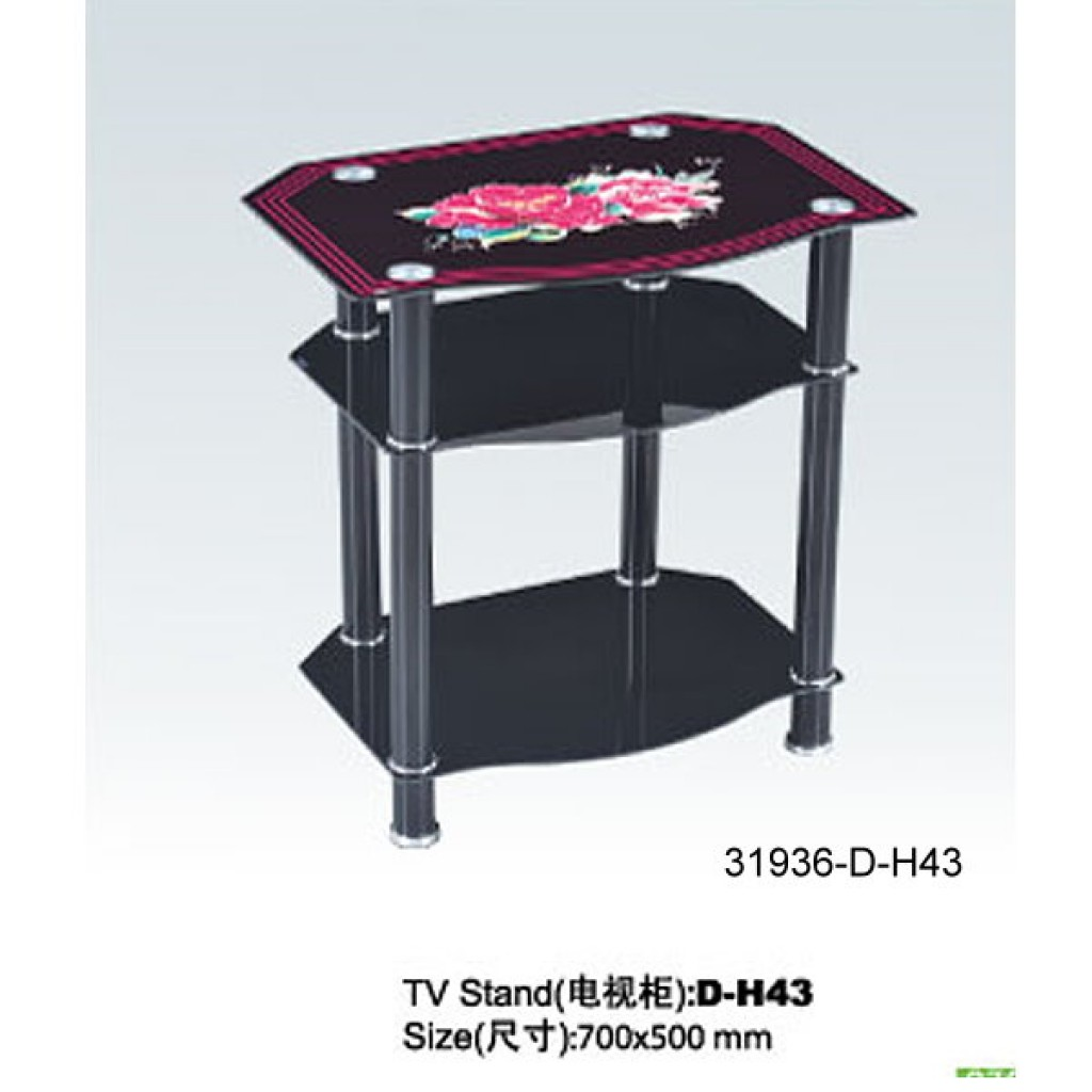 31936-D-H43 3 Tier Glass TV Stand