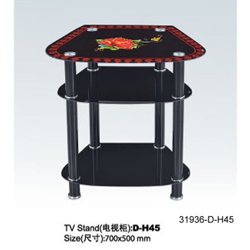 31936-D-H45 3 Tier Glass TV Stand