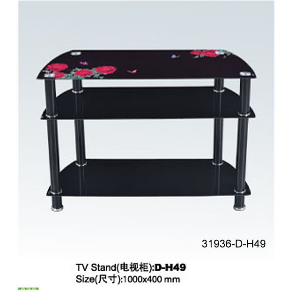 31936-D-H49 3 Tier Glass TV Stand