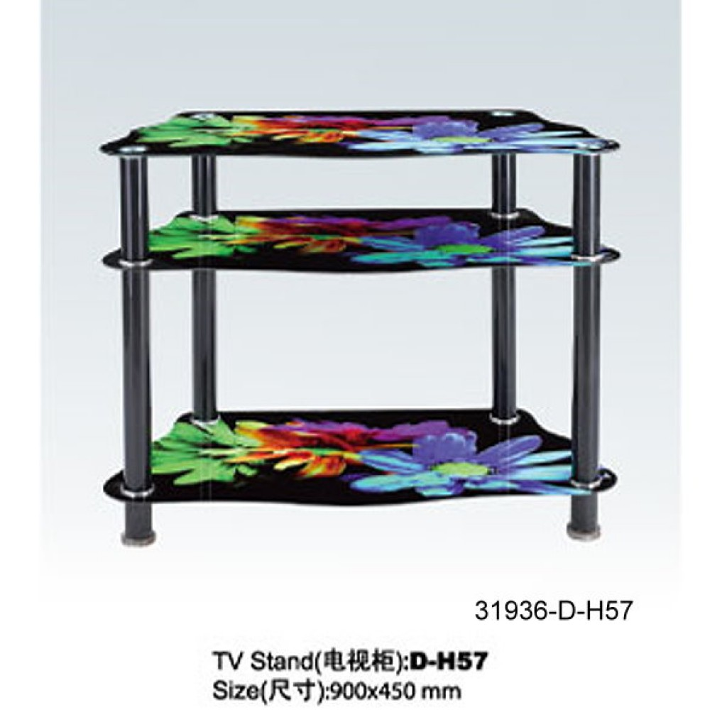 31936-D-H57 3 Tier Glass TV Stand