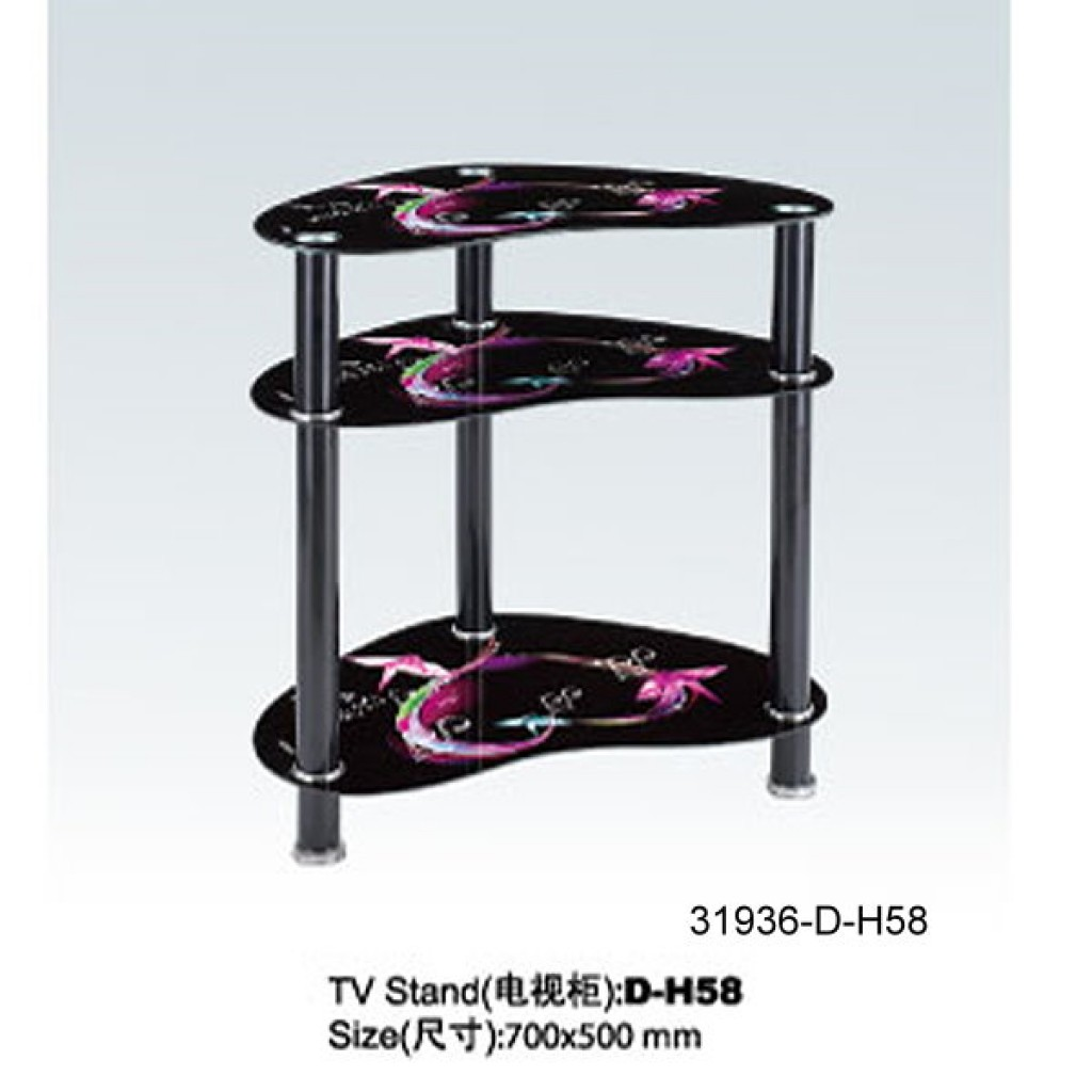 31936-D-H58 3 Tier Glass TV Stand