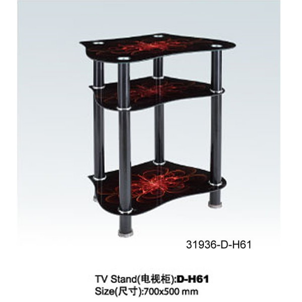 31936-D-H61 3 Tier Glass TV Stand