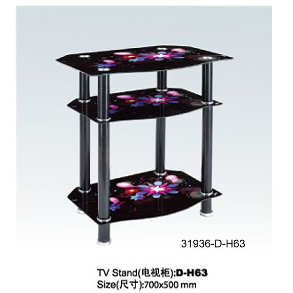 31936-D-H63 3 Tier Glass TV Stand