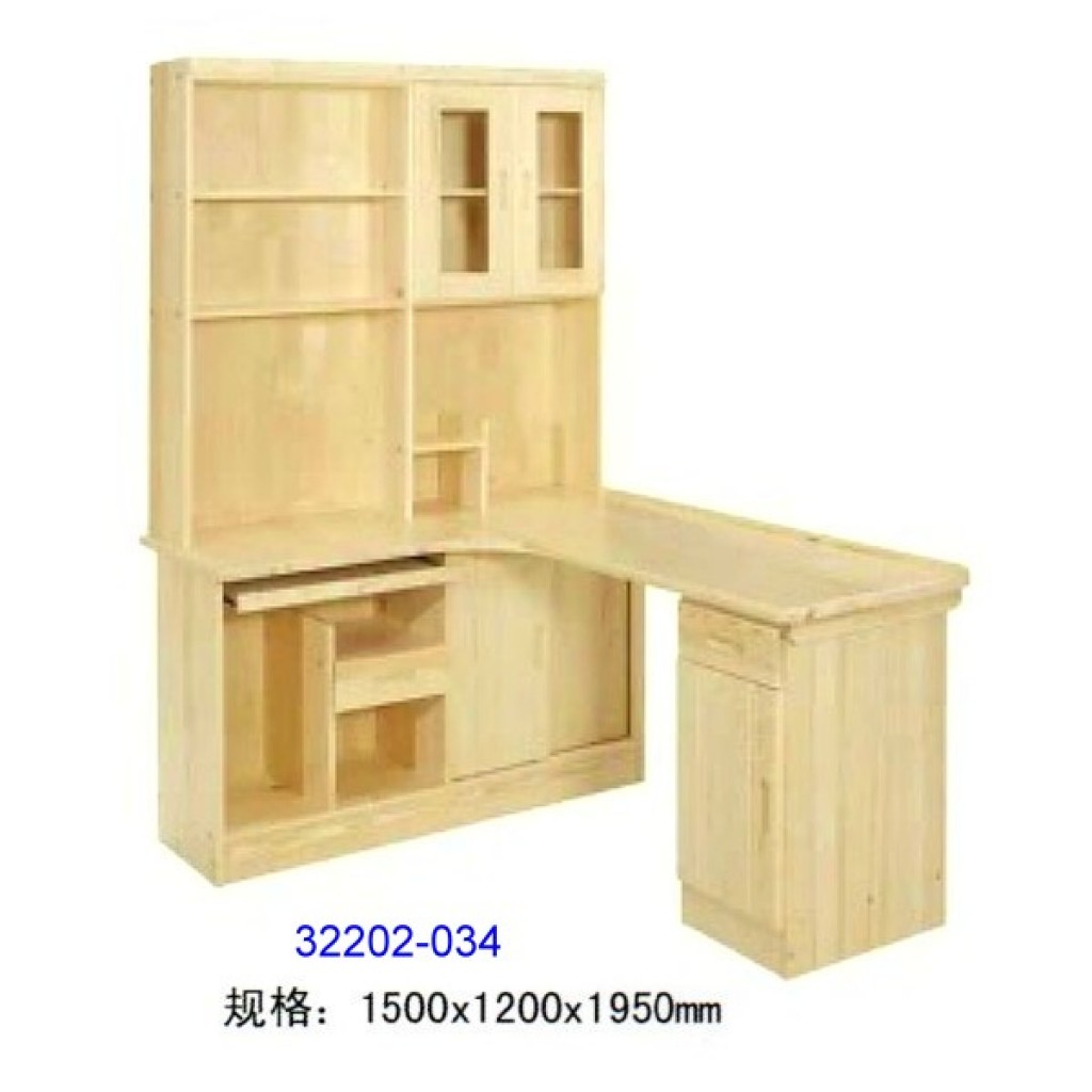 32202-034 Wooden computer desk and bookshelf