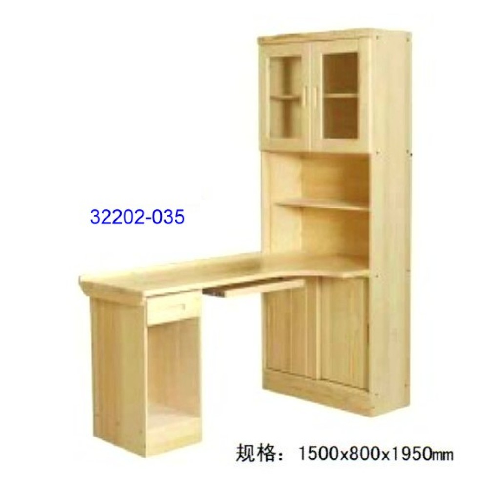 32202-035 Wooden computer desk and bookshelf