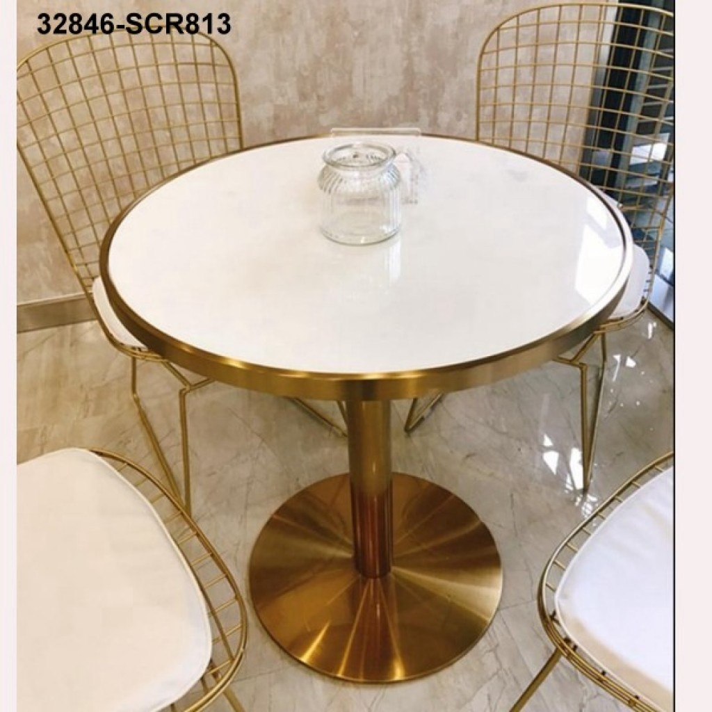 32846-SCR813 stainless steel&marble table