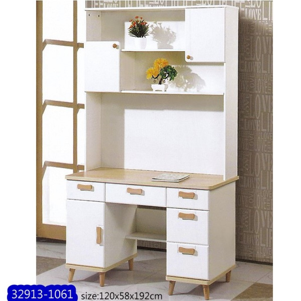 32913-1061  Wooden desk & bookshelf cabinet