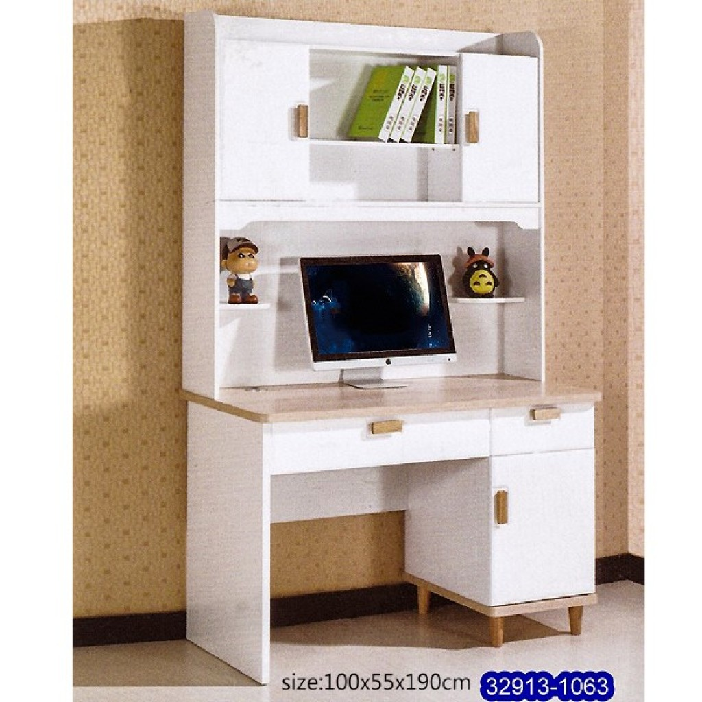 32913-1063 Wooden desk & bookshelf cabinet