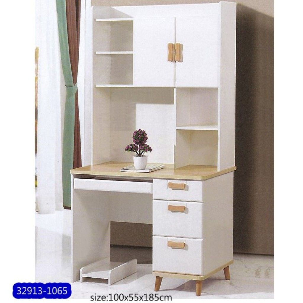 32913-1065 Wooden desk & bookshelf cabinet