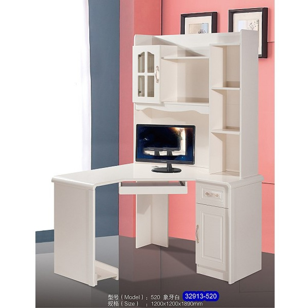 32913-520 Wooden corner desk & bookshelf cabinet