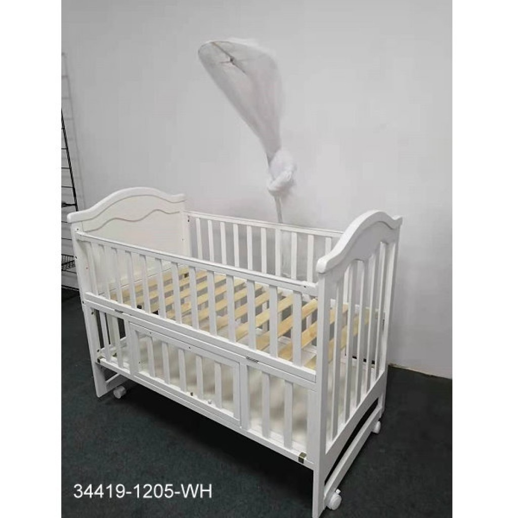 34419-1205-WH Wooden Baby bed