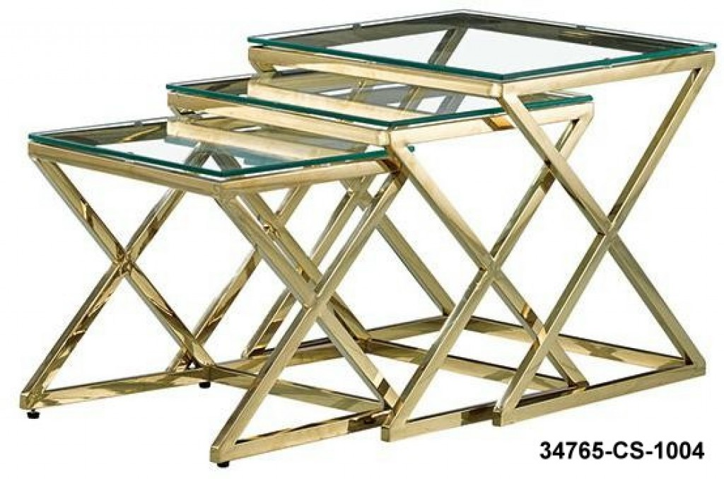 34765-CS-1004 stainless steel coffee table set