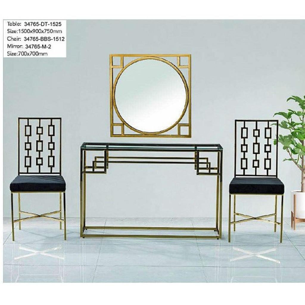 34765-DT-1525 Stainless Console Table Set
