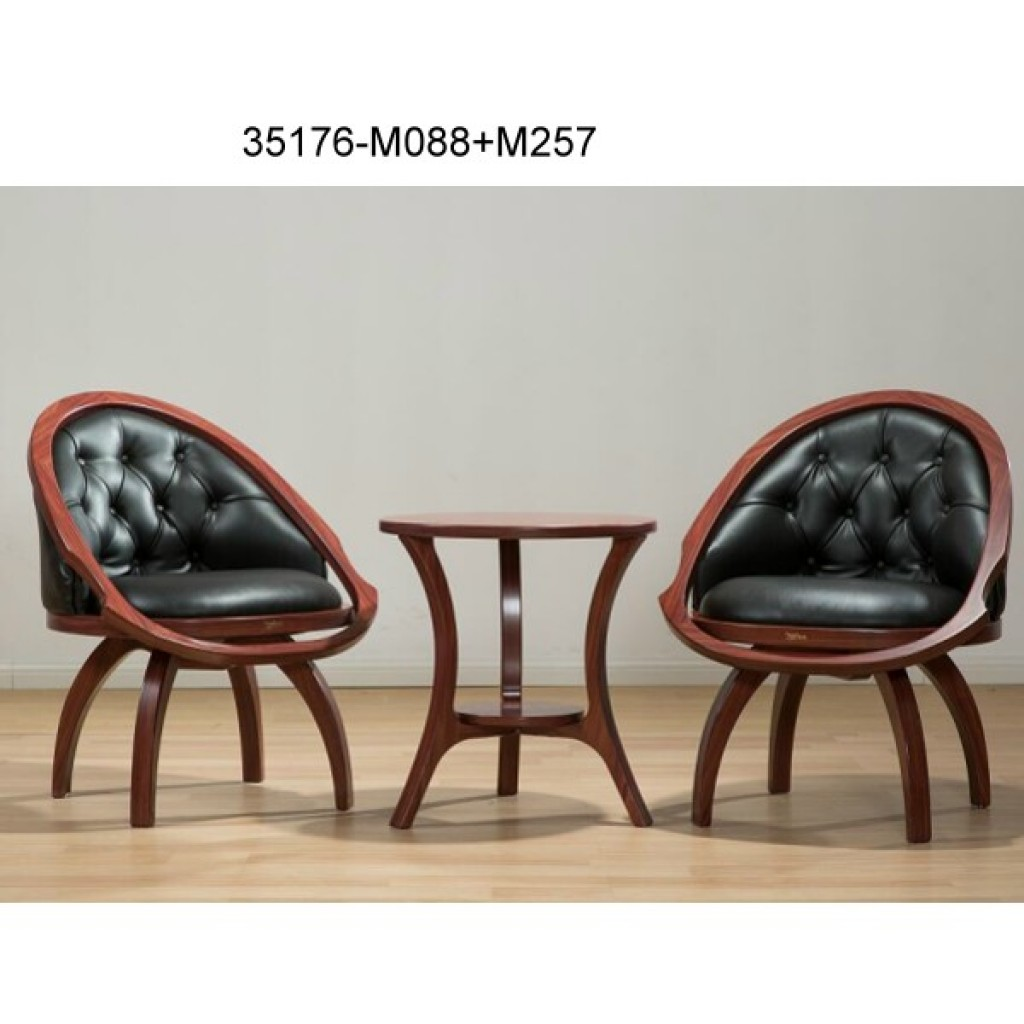35176-M088+M257 Wood swivel chair table sets