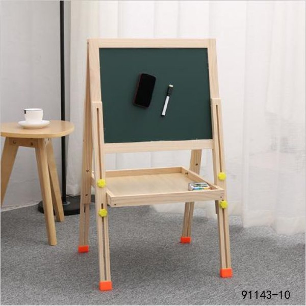 91143-10 kid's wooden double-sided magnetic drawing board