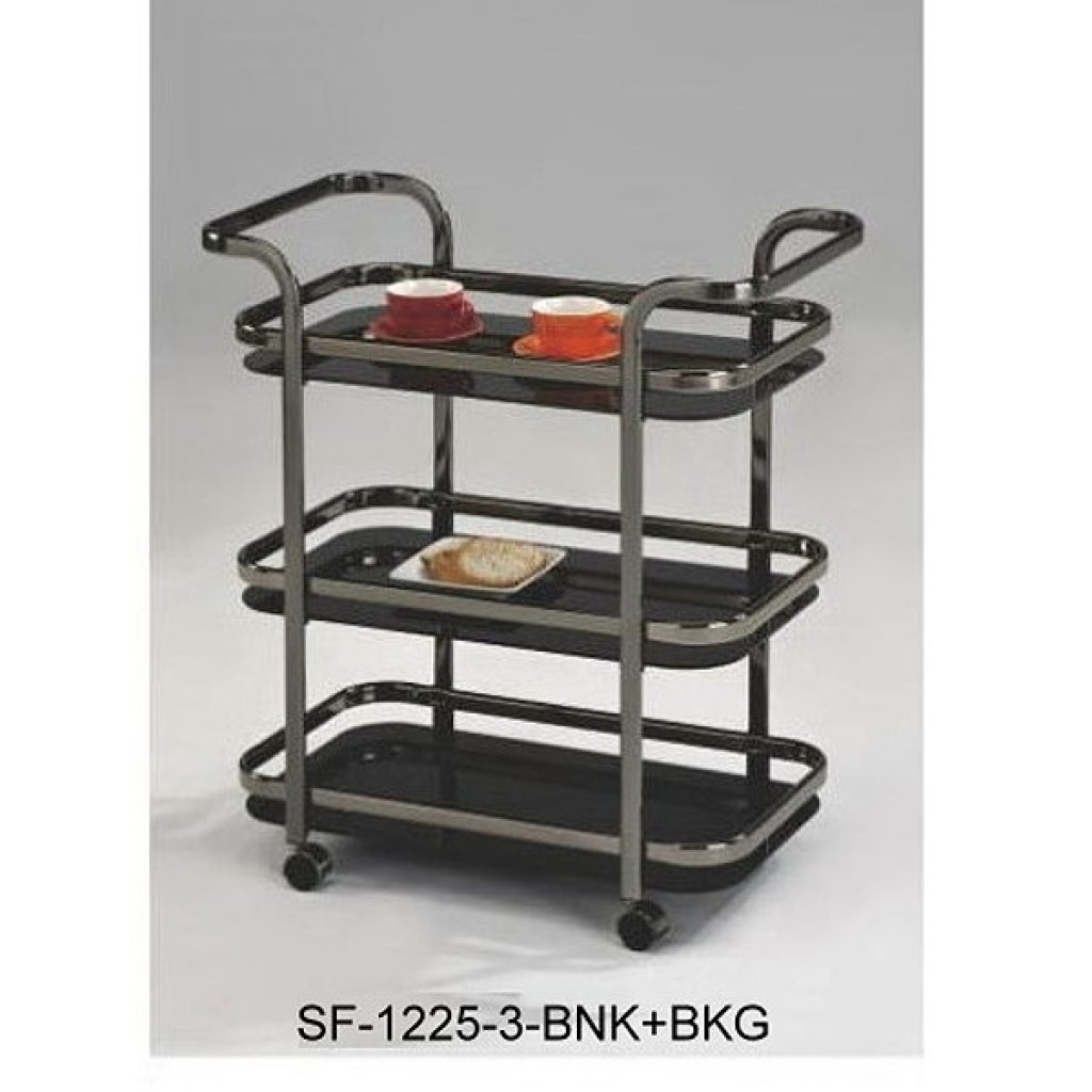 SF-1225-3 BNK+BKG Metal 3 Tier Steel Tea Trolley