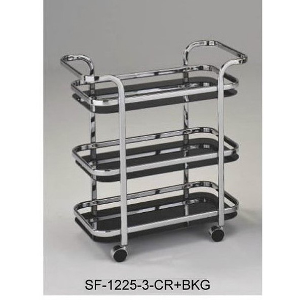 SF-1225-3 CR+BKG Metal 3 Tier Steel Tea Trolley